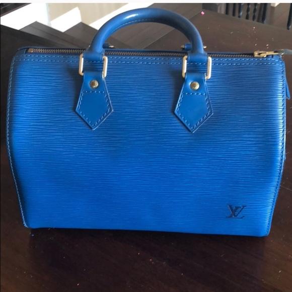b8d8a2377bbf Louis Vuitton Handbags - Louis Vuitton Blue Epi Leather Speedy 25